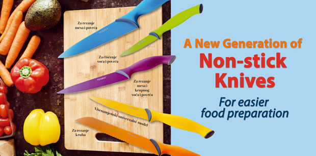 A New Generation of Non-stick Knives - For easier food preparation